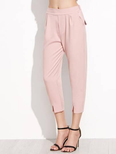 Pink Elastic Waist Split Front Pants