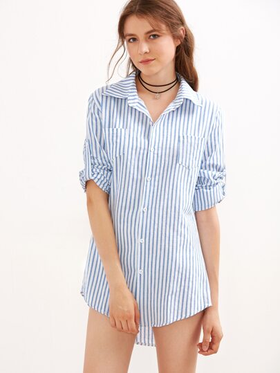 Blue Vertical Striped Roll Tab Sleeve Shirt Dress