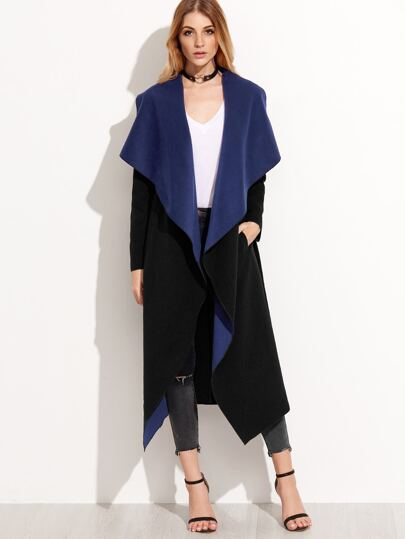 Black Contrast Waterfall Collar Wrap Coat