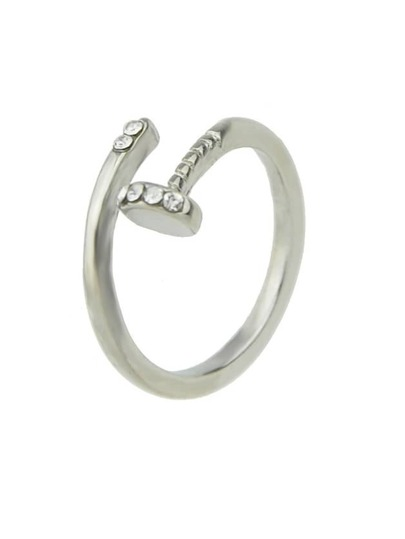 Silver Color Rhinestone Cuff Finger Ring For Women