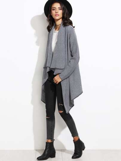 Draped Collar Asymmetrical Sweater Cardigan