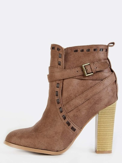 Leather Stitched Western Ankle Boots TAUPE