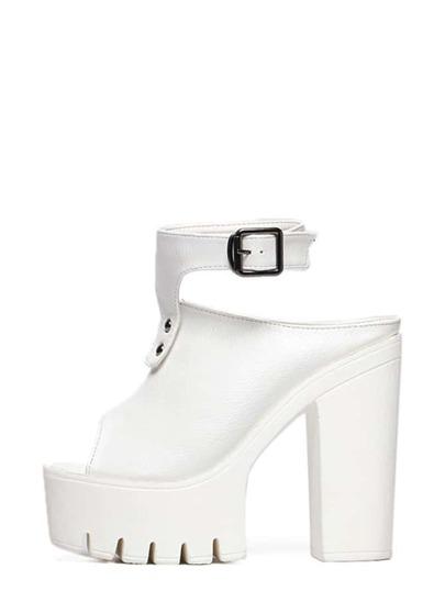 Sandalias peep toe tacón grueso correa de tobillo plataforma - blanco