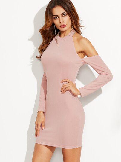 Pink Halter Neck Cold Shoulder Sheath Dress