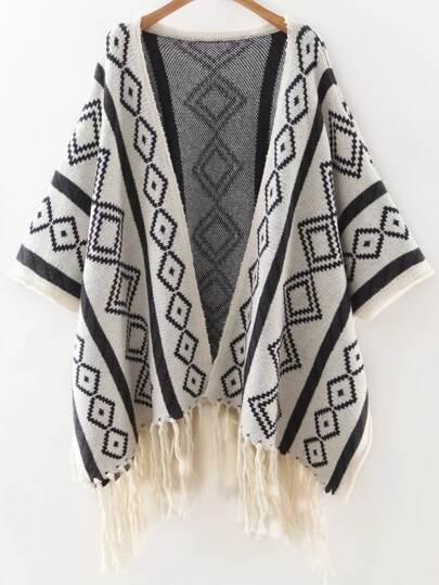 White Geometric Print Tassel Hemline Poncho Sweater