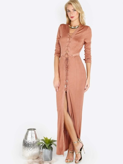 Laced In Sleeve Maxi Dress TAN