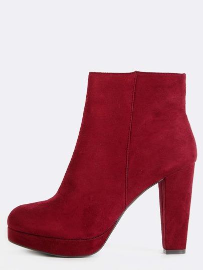 Suede Almond Toe Platform Boots BURGUNDY
