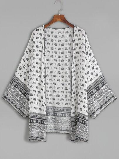 White Tribal Print Chiffon Kimono