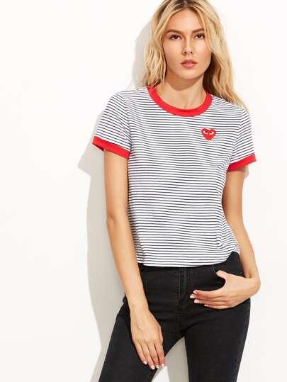 T-shirt à rayures manche courte avec broderie - blanc