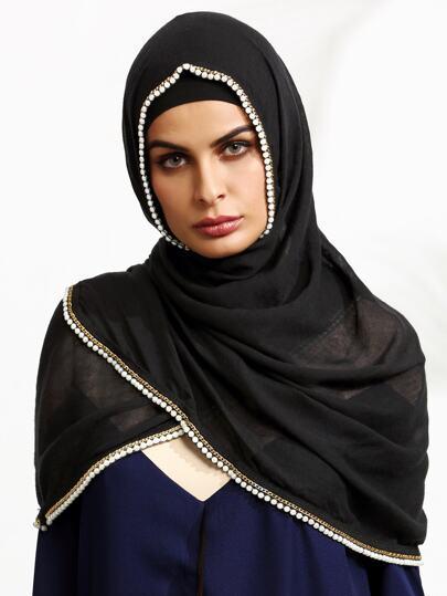 Black Faux Pearl Hijab Scarf