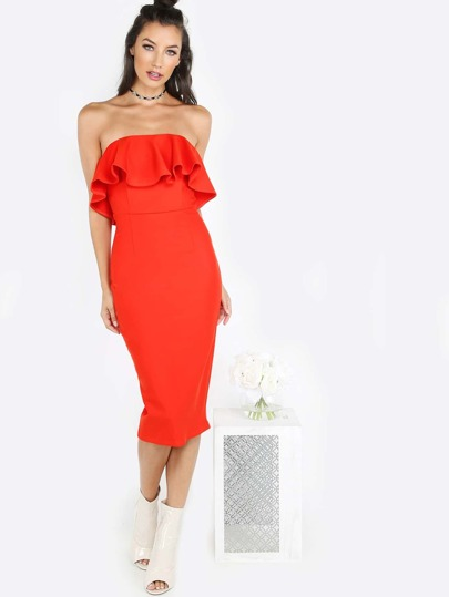 Strapless Bust Overlay Midi Dress RED