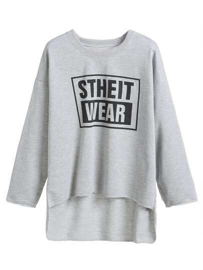 Grey Letters Print High Low Top