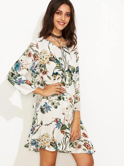 White Tropical Print Swing Dress