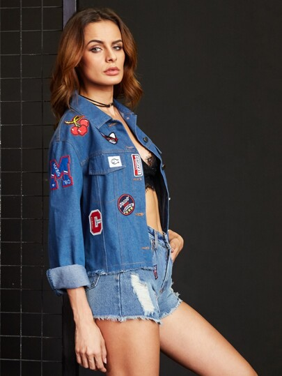 Blue Frayed Denim Jacket With Embroidered Patch