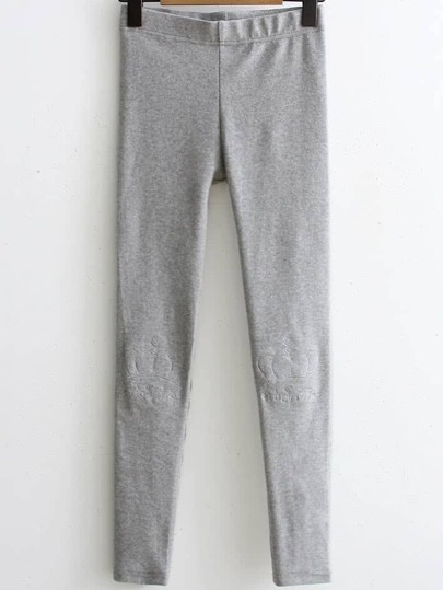 Grey Crown Embroidery Skinny Leggings