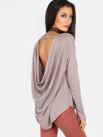 Back Cowl Slim Sleeve Top TAUPE