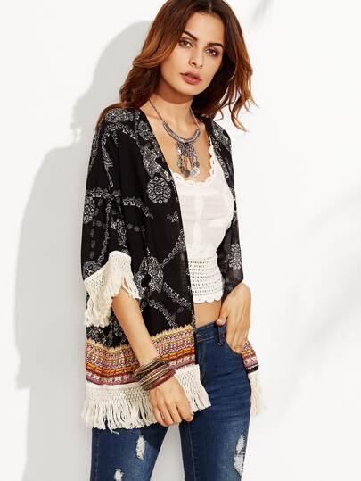 Kimono Stampato Orlo Con Nappa - Nero