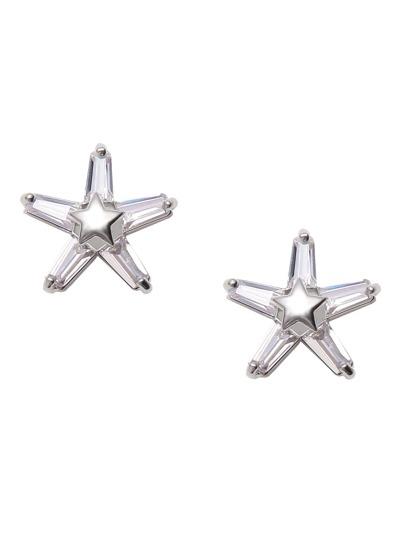 Pendientes de botón en forma de estrella - plateado