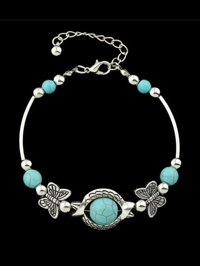 Imitation Turquoise Butterfly Charms Bracelet