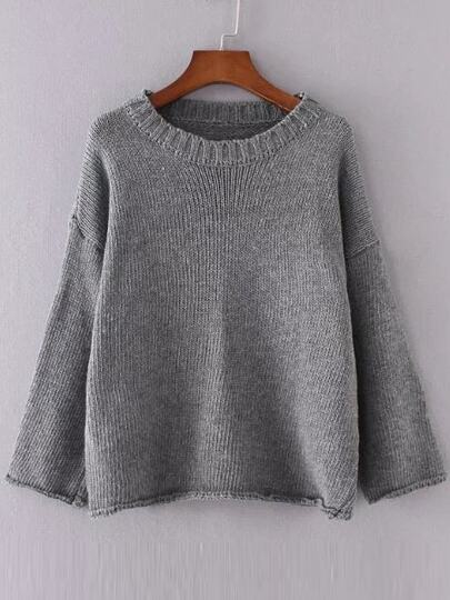 Grey Drop Shoulder Roll Hem Sweater