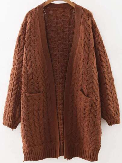 Brown Open Front Cable Knit Sweater Coat With Pocket