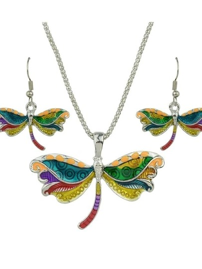 Silver Enamel Butterfly Pendant Necklace Drop Earrings Jewelry Set