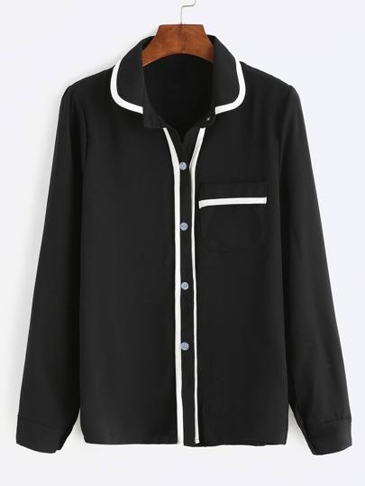 Black Contrast Trim Pocket Shirt