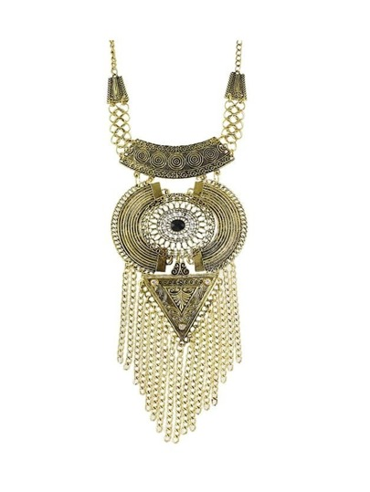 Antique Gold Tibetan Design Long Tassel Geometric Chunky Statement Necklace