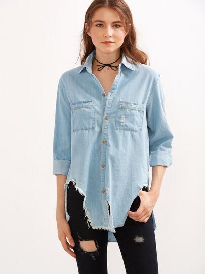 Blue Frayed Curved Hem Denim Shirt