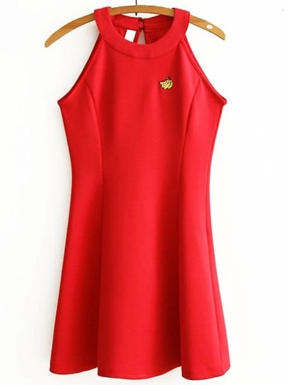 Red Embroidered Halter Sleeveless Dress