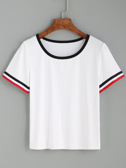 Striped Trim Ringer Tee