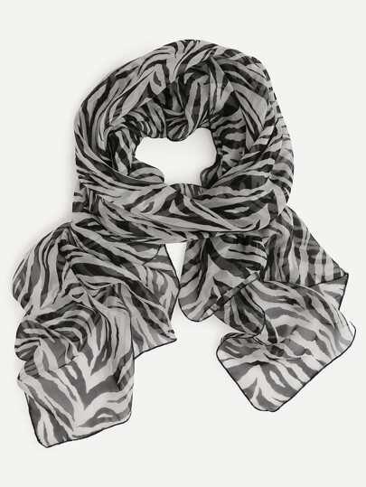 Black And White Zebra Print Silk Scarf