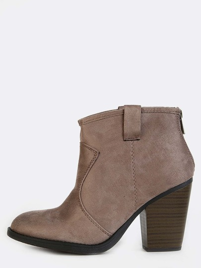 Suede Stacked Heel Ankle Booties TAUPE