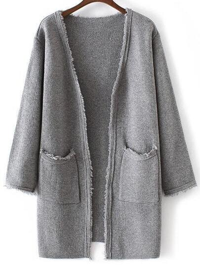 Grey Collarless Frayed Cardigan With Pockets