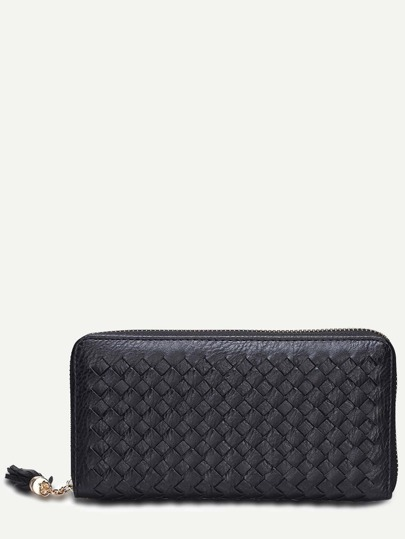 Black Faux Leather Woven Clutch Bag