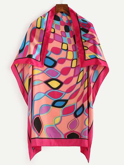 Hot Pink Geometric Print Square Scarf