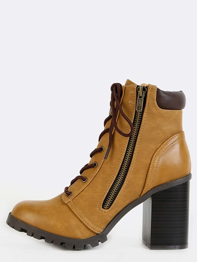 Stacked Heel Outdoor Ankle Boots CAMEL