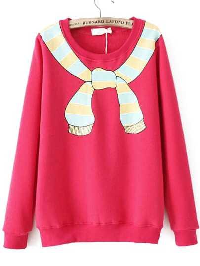 Red Scarf Print Loose Sweatshirt