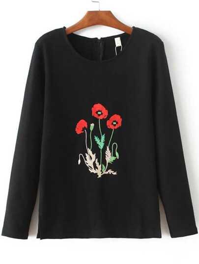 Black Flower Embroidered Split Side Sweatshirt With Zipper