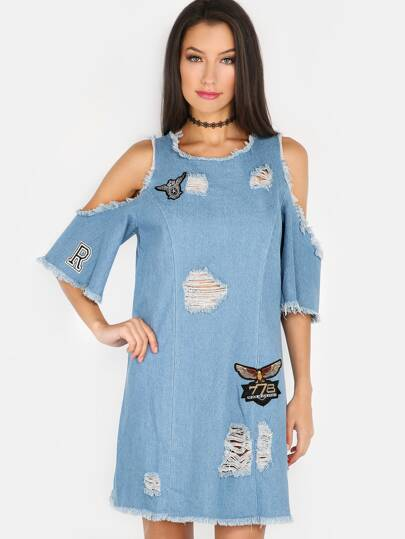 Cold Shoulder Fray Patch Dress DENIM