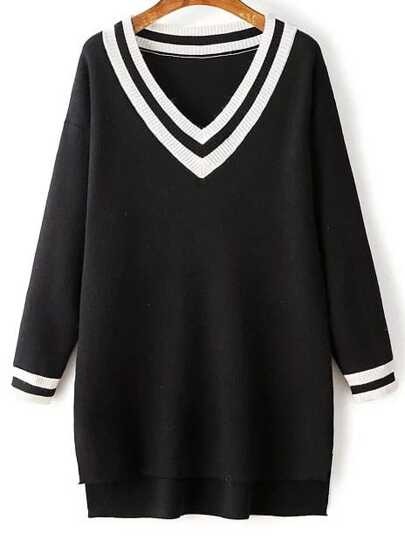 Black Striped Trim Split Side Knit High Low Dress