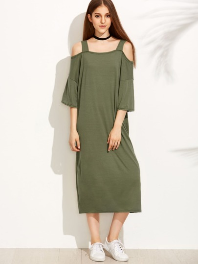 Green Cold Shoulder Shift Dress
