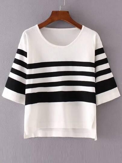 White Contrast Striped Dip Hem Knitwear