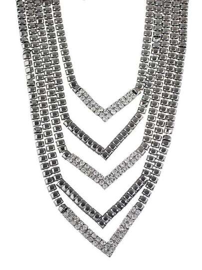 Gunblack Color Rhinestone Chunky Statement Collar Necklace