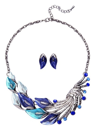 Blue Rhinestone Peacock Feather Jewelry Set