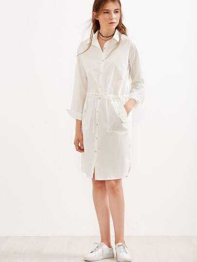 White Drawstring Button Front Slit Side Shirt Dress