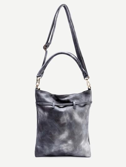 Grey Faux Leather Tassel Trim Drawstring Shoulder Bag