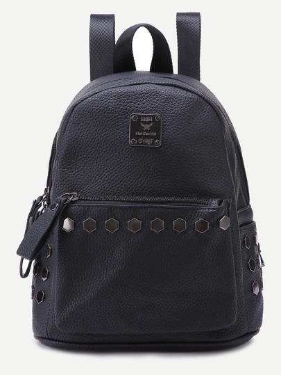 Чёрный кожаный рюкзак с заклепками