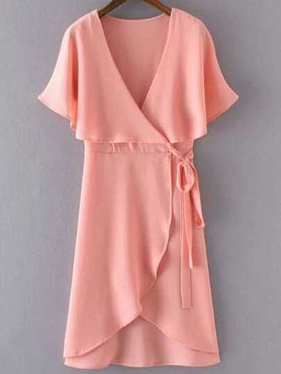 Pink Deep V Neck Cape Sleeve Wrap Dress