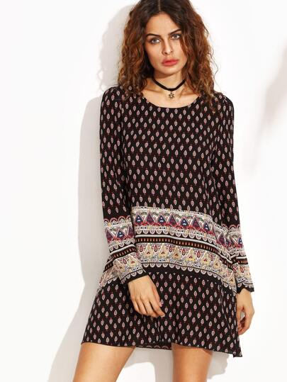 Vintage Print Shift Dress